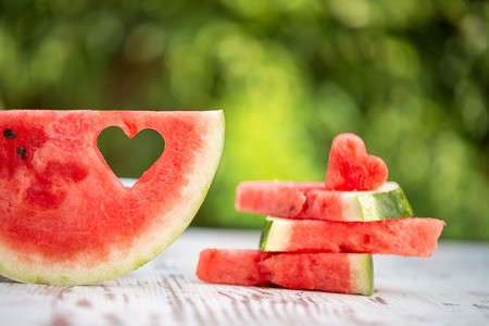 41742414 - decorated watermelon slices with heart shape