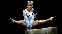 Gymnast Shannon Miller on the balance beam.