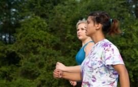 Women walking safely together.