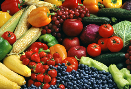 A diverse selection of healthy fruits and vegetables.