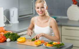 Woman preparing a healthy meal.