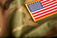 American Flag patch on camo
