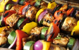 Chicken and vegetable kebabs add helpful potassium to your diet.