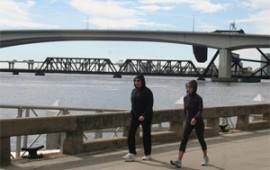 Enjoying a healthy walk beside the river.