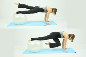 Single leg balance crunch ab/tush toner exercise