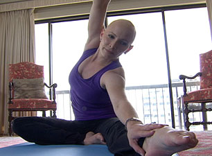 Shannon Miller exercising after chemotherapy.
