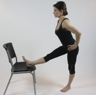 Standing Hamstring Chair Stretch