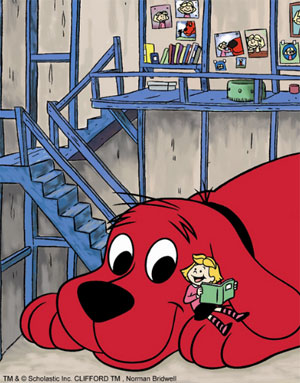 Clifford the Big Red Dog and Emily Elizabeth reading