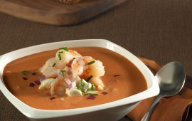 Tomato soup with Sea Best Shrimp and Goat Cheese