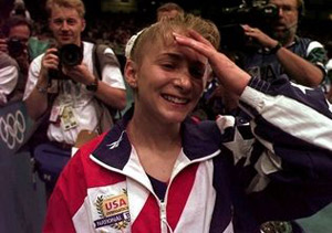 Shannon at Gymnastics Competition in 1996 Summer Olympics - AP photo