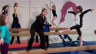 Shannon on balance beam promoting Pacific Rim Gymnastics Championships